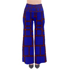 Line Plaid Red Blue Pants by Mariart