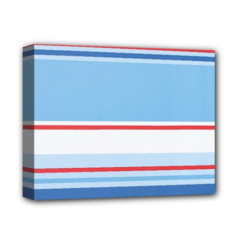 Navy Blue White Red Stripe Blue Finely Striped Line Deluxe Canvas 14  X 11  by Mariart