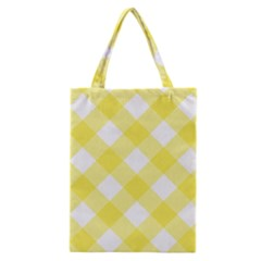 Plaid Chevron Yellow White Wave Classic Tote Bag by Mariart