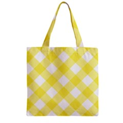 Plaid Chevron Yellow White Wave Zipper Grocery Tote Bag by Mariart