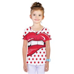 Sexy Lips Red Polka Dot Kids  One Piece Tee by Mariart