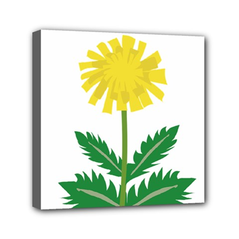 Sunflower Floral Flower Yellow Green Mini Canvas 6  X 6  by Mariart