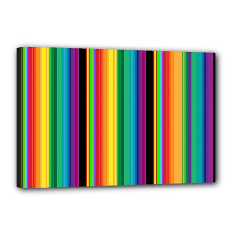 Multi Colored Colorful Bright Stripes Wallpaper Pattern Background Canvas 18  X 12  by Nexatart