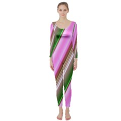 Pink And Green Abstract Pattern Background Long Sleeve Catsuit