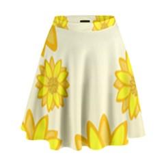 Sunflowers Flower Floral Yellow High Waist Skirt by Mariart
