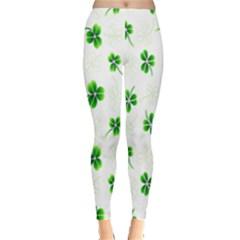 Leaf Green White Leggings  by Mariart