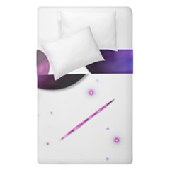 Space Transparent Purple Moon Star Duvet Cover Double Side (single Size) by Mariart