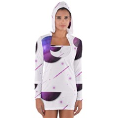 Space Transparent Purple Moon Star Women s Long Sleeve Hooded T Shirt by Mariart