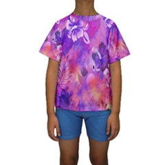 Littie Birdie Abstract Design Artwork Kids  Short Sleeve Swimwear
