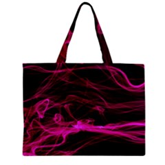 Abstract Pink Smoke On A Black Background Zipper Mini Tote Bag by Nexatart