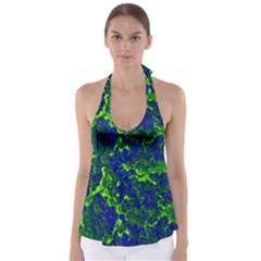 Abstract Green And Blue Background Babydoll Tankini Top