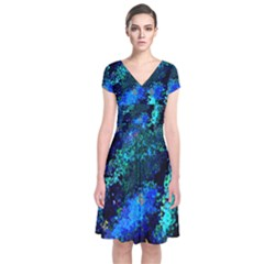 Underwater Abstract Seamless Pattern Of Blues And Elongated Shapes Short Sleeve Front Wrap Dress by Nexatart