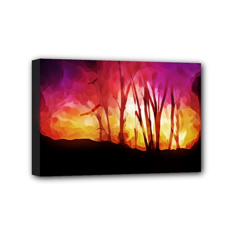 Fall Forest Background Mini Canvas 6  X 4  by Nexatart