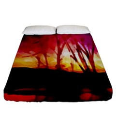 Fall Forest Background Fitted Sheet (king Size) by Nexatart