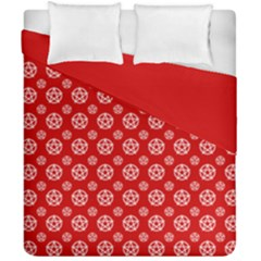Dark Red White Pentacle Pagan Wiccan Duvet Cover Double Side (california King Size) by cheekywitch