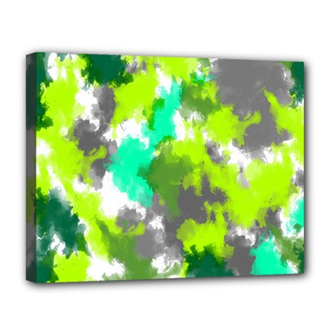 Abstract Watercolor Background Wallpaper Of Watercolor Splashes Green Hues Canvas 14  X 11  by Nexatart