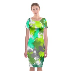 Abstract Watercolor Background Wallpaper Of Watercolor Splashes Green Hues Classic Short Sleeve Midi Dress by Nexatart