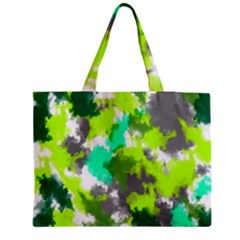 Abstract Watercolor Background Wallpaper Of Watercolor Splashes Green Hues Medium Tote Bag by Nexatart