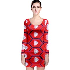 Red Bee Hive Background Long Sleeve Bodycon Dress