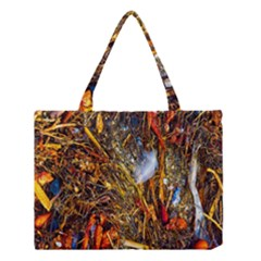Abstract In Orange Sealife Background Abstract Of Ocean Beach Seaweed And Sand With A White Feather Medium Tote Bag by Nexatart