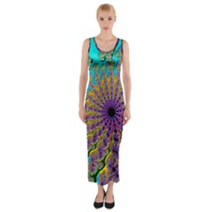 Beautiful Mandala Created With Fractal Forge Fitted Maxi Dress