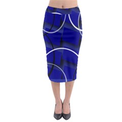 Blue Abstract Pattern Rings Abstract Midi Pencil Skirt by Nexatart