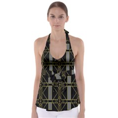 Simple Art Deco Style Art Pattern Babydoll Tankini Top