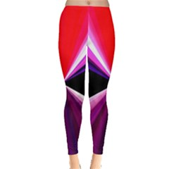 Red And Purple Triangles Abstract Pattern Background Leggings  by Nexatart