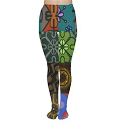 Digitally Created Abstract Patchwork Collage Pattern Women s Tights by Nexatart