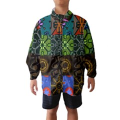 Digitally Created Abstract Patchwork Collage Pattern Wind Breaker (kids) by Nexatart