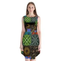 Digitally Created Abstract Patchwork Collage Pattern Sleeveless Chiffon Dress   by Nexatart