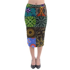 Digitally Created Abstract Patchwork Collage Pattern Midi Pencil Skirt by Nexatart