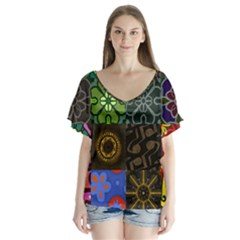 Digitally Created Abstract Patchwork Collage Pattern Flutter Sleeve Top by Nexatart