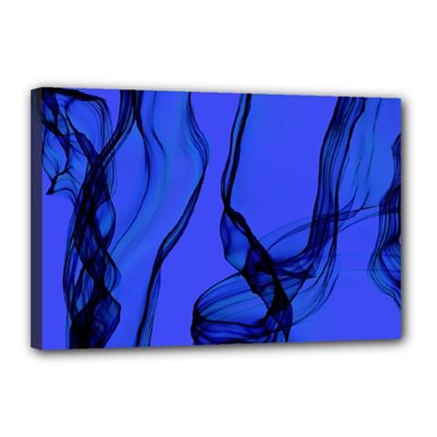 Blue Velvet Ribbon Background Canvas 18  X 12  by Nexatart