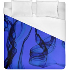 Blue Velvet Ribbon Background Duvet Cover (king Size) by Nexatart