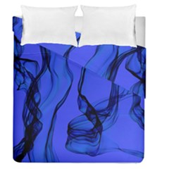 Blue Velvet Ribbon Background Duvet Cover Double Side (queen Size) by Nexatart