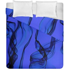 Blue Velvet Ribbon Background Duvet Cover Double Side (california King Size) by Nexatart