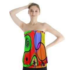 Digitally Painted Patchwork Shapes With Bold Colours Strapless Top by Nexatart