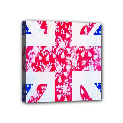British Flag Abstract British Union Jack Flag In Abstract Design With Flowers Mini Canvas 4  X 4  by Nexatart