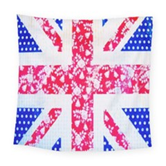 British Flag Abstract British Union Jack Flag In Abstract Design With Flowers Square Tapestry (large) by Nexatart