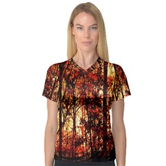 Forest Trees Abstract Women s V-Neck Sport Mesh Tee