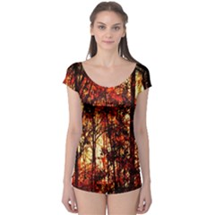 Forest Trees Abstract Boyleg Leotard  by Nexatart