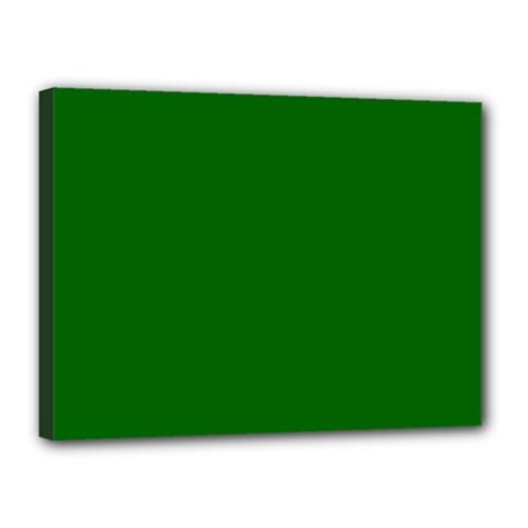 Dark Plain Green Canvas 16  X 12  by Jojostore