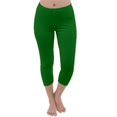 Dark Plain Green Capri Winter Leggings  by Jojostore