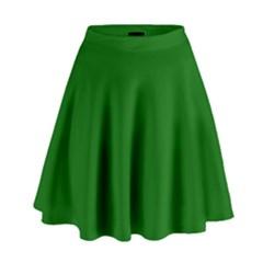 Dark Plain Green High Waist Skirt by Jojostore