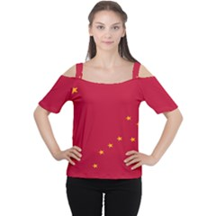 Alaska Star Red Yellow Women s Cutout Shoulder Tee by Jojostore