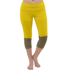 Trolley Yellow Brown Tropical Capri Yoga Leggings by Jojostore