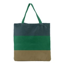Blue Green Brown Grocery Tote Bag by Jojostore