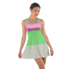 Grey Green Pink Cotton Racerback Dress by Jojostore