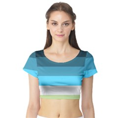 Line Color Black Green Blue White Short Sleeve Crop Top (tight Fit) by Jojostore